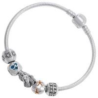 Mermaid Sea Goddess Sterling Silver Bead Bracelet