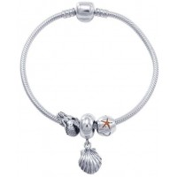 Shell and Mermaid Sterling Silver Bead Bracelet