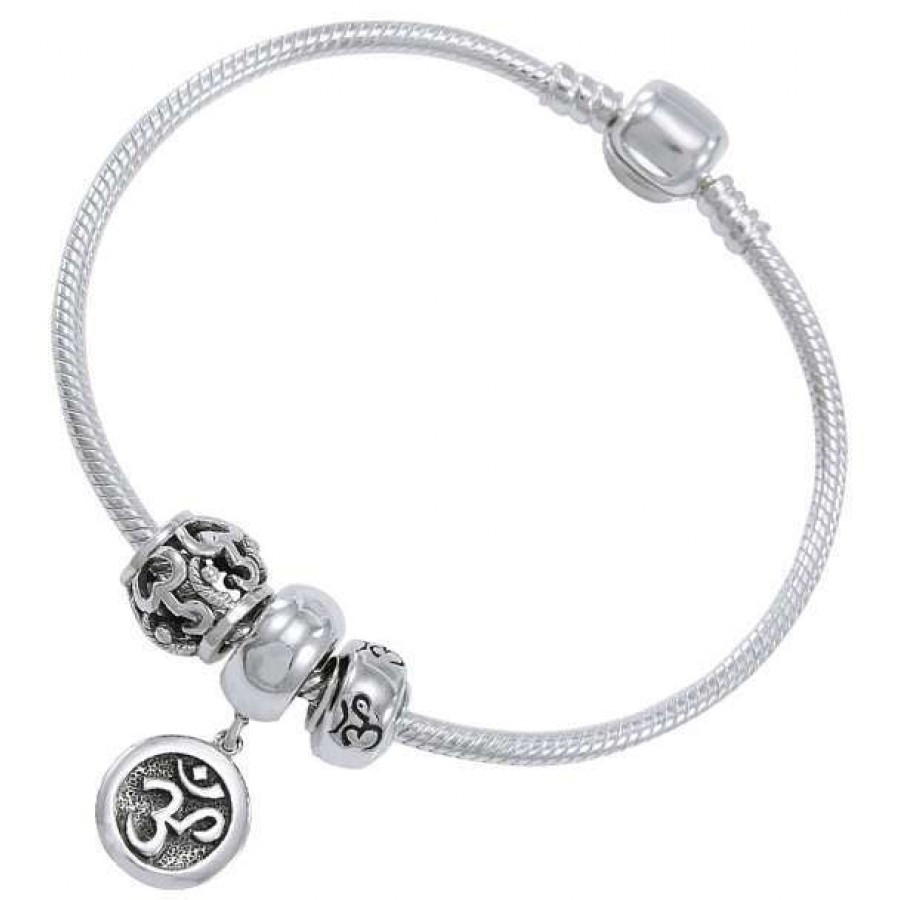 Om Sterling Silver Bead Bracelet At Mystic Convergence Magical Supplies Wiccan Pagan Jewelry