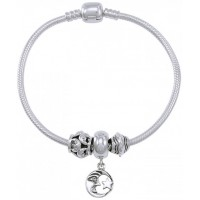 Moon and Stars Sterling Silver Bead Bracelet