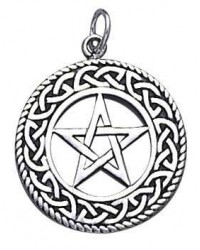 Celtic Border Pentacle Sterling Silver Pendant Mystic Convergence Magical Supplies Wiccan Supplies, Pagan Jewelry, Witchcraft Supplies, New Age Store