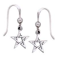 Pentacle Dangle Earrings in Sterling Silver