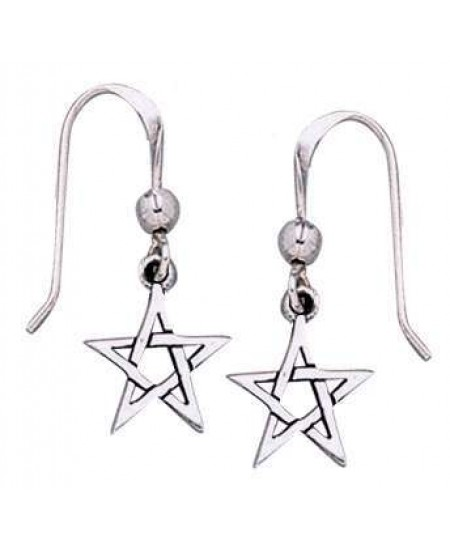 Pentacle Dangle Earrings in Sterling Silver at Mystic Convergence Metaphysical Supplies, Metaphysical Supplies, Pagan Jewelry, Witchcraft Supply, New Age Spiritual Store