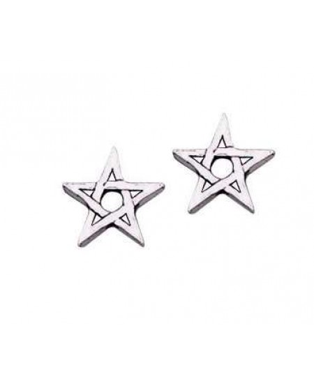 Pentagram Stud Earrings in Sterling Silver at Mystic Convergence Metaphysical Supplies, Metaphysical Supplies, Pagan Jewelry, Witchcraft Supply, New Age Spiritual Store