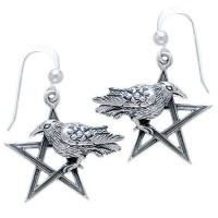 Pentacle Raven Earrings