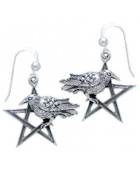 Pentacle Raven Earrings Mystic Convergence Wiccan Supplies, Pagan Jewelry, Witchcraft Supplies, New Age Store