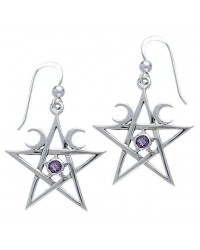 Pentagram Pentacle Earrings with Gemstone Mystic Convergence Wiccan Supplies, Pagan Jewelry, Witchcraft Supplies, New Age Store