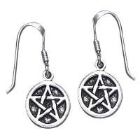Pentagram Pentacle Dangle Earrings in Sterling Silver