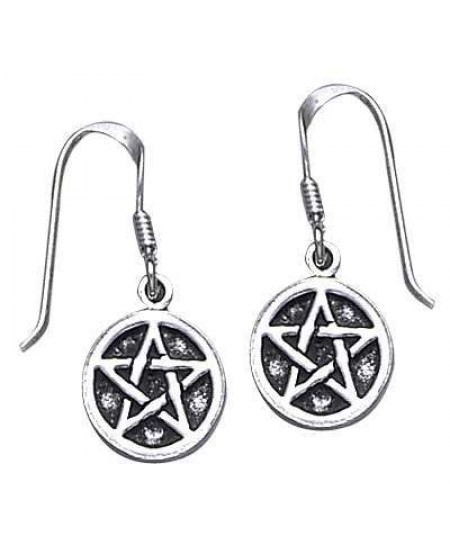Pentagram Pentacle Dangle Earrings in Sterling Silver at Mystic Convergence Metaphysical Supplies, Metaphysical Supplies, Pagan Jewelry, Witchcraft Supply, New Age Spiritual Store