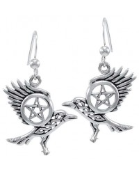 Raven Pentacle Sterling Silver Earrings Mystic Convergence Wiccan Supplies, Pagan Jewelry, Witchcraft Supplies, New Age Store