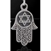 Hamsa Star of David Sterling Silver Pendant