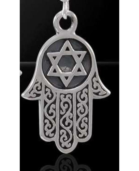 Hamsa Star of David Sterling Silver Pendant at Mystic Convergence Metaphysical Supplies, Metaphysical Supplies, Pagan Jewelry, Witchcraft Supply, New Age Spiritual Store