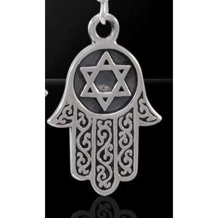 Hamsa Star Of David Sterling Silver Pendant Judiasm Jewish Jewelry