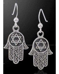Hamsa Star of David Sterling Silver Earrings Mystic Convergence Wiccan Supplies, Pagan Jewelry, Witchcraft Supplies, New Age Store