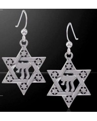 Chai Star of David Sterling Silver Earrings Mystic Convergence Wiccan Supplies, Pagan Jewelry, Witchcraft Supplies, New Age Store