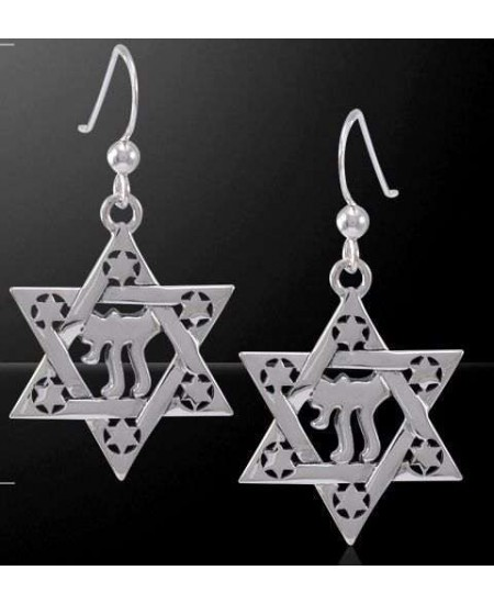 Chai Star of David Sterling Silver Earrings at Mystic Convergence Metaphysical Supplies, Metaphysical Supplies, Pagan Jewelry, Witchcraft Supply, New Age Spiritual Store