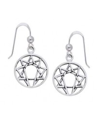 Enneagram Sterling Silver Earrings Mystic Convergence Wiccan Supplies, Pagan Jewelry, Witchcraft Supplies, New Age Store
