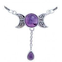 Celtic Triple Moon Necklace with Amethyst for Spirituality