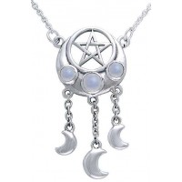 Crescent Pentacle Necklace with Moontones