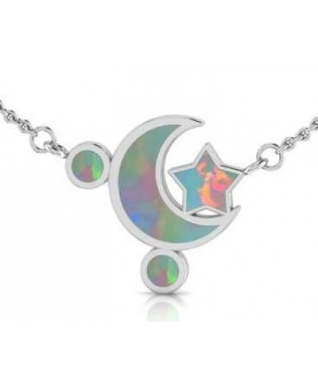 Moon and Star Necklace with Opal Inlay at Mystic Convergence Metaphysical Supplies, Metaphysical Supplies, Pagan Jewelry, Witchcraft Supply, New Age Spiritual Store