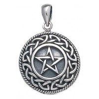 Knotwork Bordered Pentacle Pendant in Sterling Silver