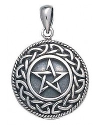 Knotwork Bordered Pentacle Pendant in Sterling Silver Mystic Convergence Metaphysical Supplies Metaphysical Supplies, Pagan Jewelry, Witchcraft Supply, New Age Spiritual Store