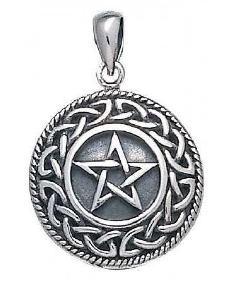 Knotwork Bordered Pentacle Pendant in Sterling Silver at Mystic Convergence Metaphysical Supplies, Metaphysical Supplies, Pagan Jewelry, Witchcraft Supply, New Age Spiritual Store