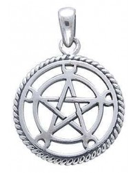 Moon Pentacle Sterling Silver Pentagram Pendant Mystic Convergence Metaphysical Supplies Metaphysical Supplies, Pagan Jewelry, Witchcraft Supply, New Age Spiritual Store