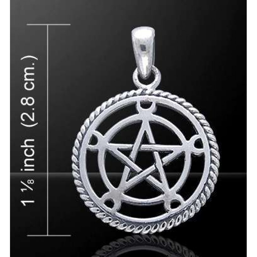 Moon pentacle sterling silver pentagram pendant wicca witch moon pentacle sterling silver pentagram pendant at mystic convergence wiccan supplies pagan jewelry aloadofball Choice Image