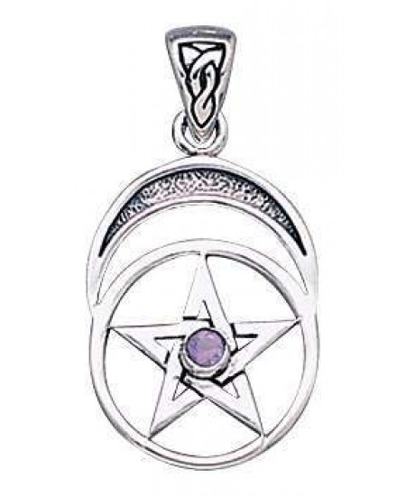 Gemstone Sterling Silver Pentagram Pendant at Mystic Convergence Metaphysical Supplies, Metaphysical Supplies, Pagan Jewelry, Witchcraft Supply, New Age Spiritual Store