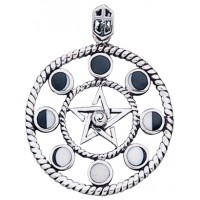 Magick Moon Phases Pendant in Sterling Silver