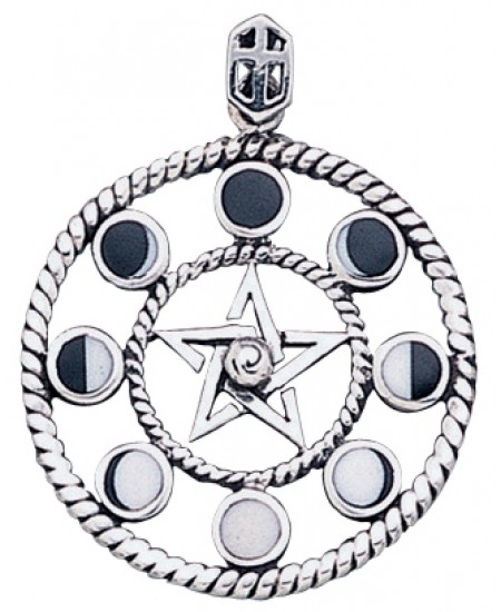 Magick Moon Phases Pendant in Sterling Silver at Mystic Convergence Metaphysical Supplies, Metaphysical Supplies, Pagan Jewelry, Witchcraft Supply, New Age Spiritual Store