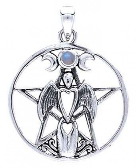 Moon Goddess Pentacle Pendant with Gemstone at Mystic Convergence Metaphysical Supplies, Metaphysical Supplies, Pagan Jewelry, Witchcraft Supply, New Age Spiritual Store