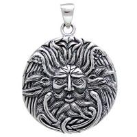 Belenos Sun God Disk Pendant in Sterling Silver