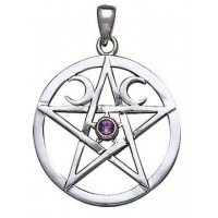 Moon Pentacle Pendant with Gemstone
