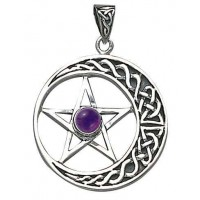 Crescent Moon Pentacle Pendant with Gemstone
