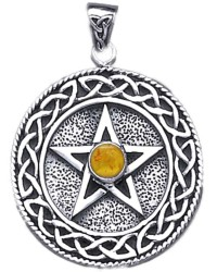 Celtic Border Pentacle Pendant with Amber for Wisdom Mystic Convergence Metaphysical Supplies Metaphysical Supplies, Pagan Jewelry, Witchcraft Supply, New Age Spiritual Store