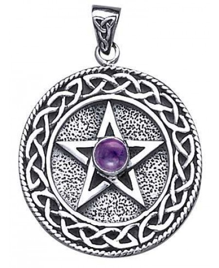 Celtic Border Pentacle Pendant with Amethyst at Mystic Convergence Metaphysical Supplies, Metaphysical Supplies, Pagan Jewelry, Witchcraft Supply, New Age Spiritual Store
