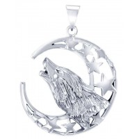 Howling Wolf Crescent Moon Pendant