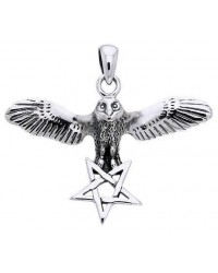 Flying Owl Pentagram Sterling Silver Pendant Mystic Convergence Metaphysical Supplies Metaphysical Supplies, Pagan Jewelry, Witchcraft Supply, New Age Spiritual Store