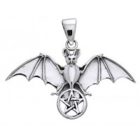 Bat Pentacle Sterling Silver Pendant