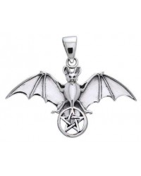 Bat Pentacle Sterling Silver Pendant Mystic Convergence Magical Supplies Wiccan Supplies, Pagan Jewelry, Witchcraft Supplies, New Age Store