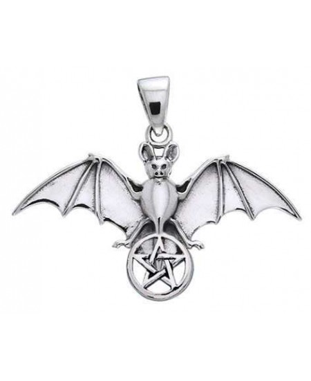 Bat Pentacle Sterling Silver Pendant at Mystic Convergence Metaphysical Supplies, Metaphysical Supplies, Pagan Jewelry, Witchcraft Supply, New Age Spiritual Store