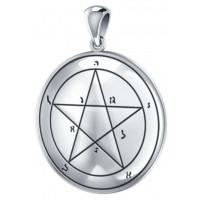 First Pentacle of Mercury Seal of Solomon Sterling Silver Pendant