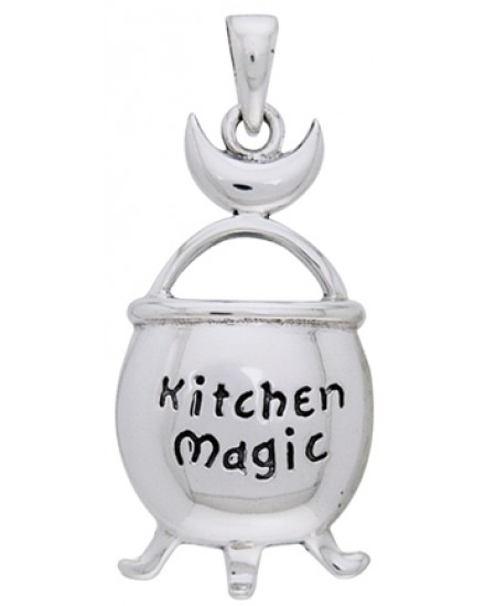 Kitchen Magic Cauldron Pendant in Sterling Silver at Mystic Convergence Metaphysical Supplies, Metaphysical Supplies, Pagan Jewelry, Witchcraft Supply, New Age Spiritual Store