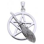 Broom Pentacle Pendant in Sterling Silver at Mystic Convergence Metaphysical Supplies, Metaphysical Supplies, Pagan Jewelry, Witchcraft Supply, New Age Spiritual Store