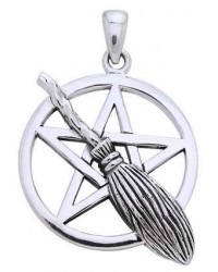 Broom Pentacle Pendant in Sterling Silver Mystic Convergence Magical Supplies Wiccan Supplies, Pagan Jewelry, Witchcraft Supplies, New Age Store