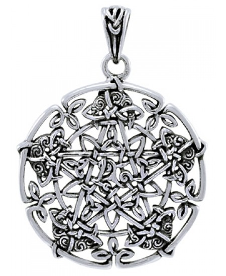 Intricate Knotwork Pentacle Pendant in Sterling Silver at Mystic Convergence Metaphysical Supplies, Metaphysical Supplies, Pagan Jewelry, Witchcraft Supply, New Age Spiritual Store