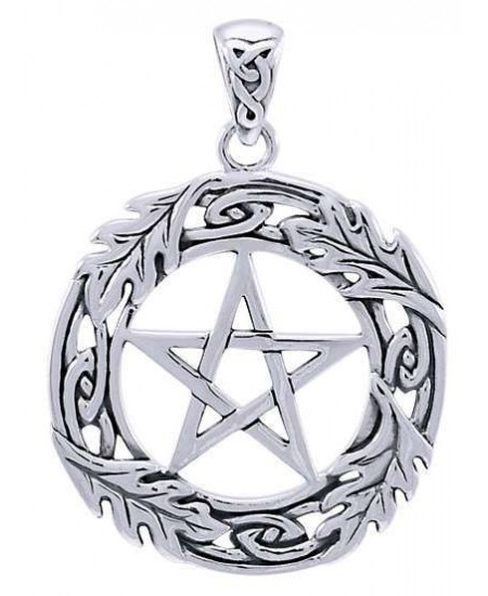 Celtic Oak Leaf Pentacle Sterling Silver Pendant at Mystic Convergence Metaphysical Supplies, Metaphysical Supplies, Pagan Jewelry, Witchcraft Supply, New Age Spiritual Store