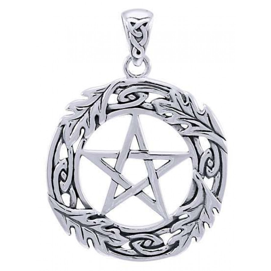 Celtic oak leaf pentacle sterling silver pendant wicca pagan witch celtic oak leaf pentacle sterling silver pendant at mystic convergence magical supplies wiccan supplies aloadofball Gallery
